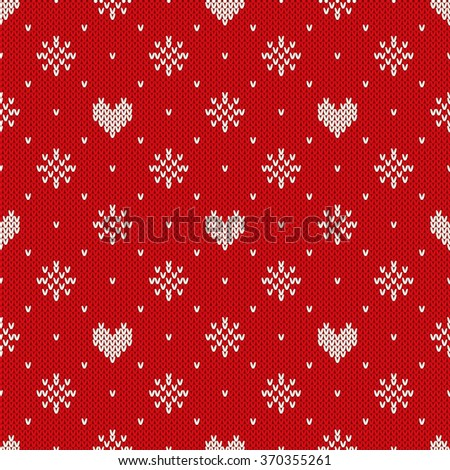 Seamless Knitted Pattern with Hearts and Snowflakes - stock vector