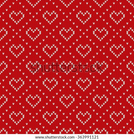 Seamless Knitted Pattern with Hearts. Valentine's Day Background - stock vector