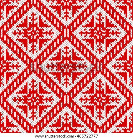 Seamless Knitting Pattern Snowflake Ornament Fair Stock Vector
