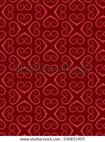 Seamless lace pattern of heart signs. Vintage, curled, swirl texture. Twist floral ornament of laurel leaves. Light red figure on dark red background. Love, birthday, Valentine day, sale. Vector - stock vector