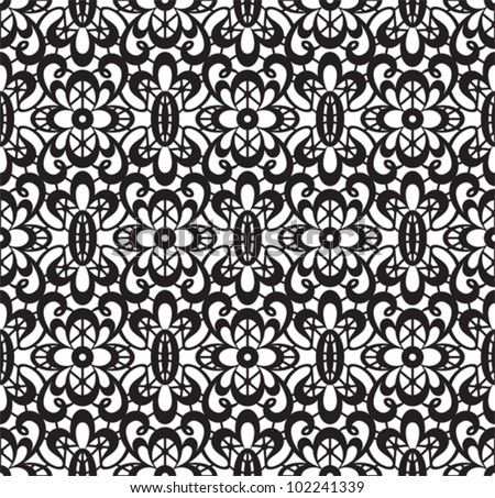 Seamless lace pattern on white background, vector illustration - stock vector