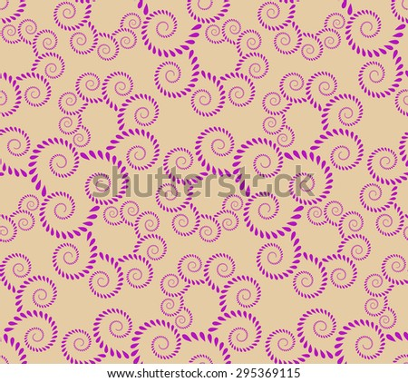 Seamless lace pattern. Vintage, curled texture. Spiral, twirl silhouettes with laurel leaves. Floral theme. Twist ornament.  Rose, magenta figure on light, gold, cream background. Vector illustration - stock vector
