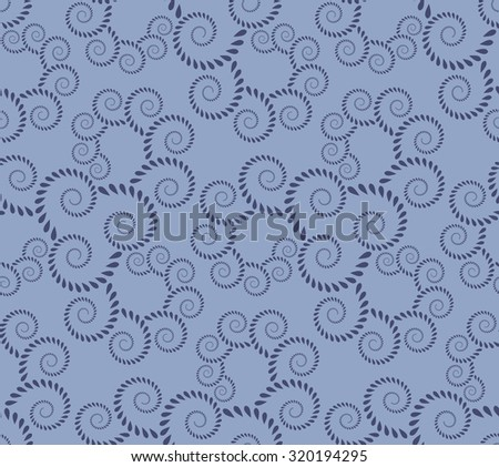 Seamless lace pattern. Vintage, curled texture. Spiral, twirl silhouettes with laurel leaves. Floral theme. Twist ornament.  Blue figure on light blue background. Silver colored. Vector illustration - stock vector