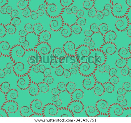 Seamless lace pattern. Vintage, curled texture. Spiral, twirl silhouettes with laurel leaves. Floral theme. Twist ornament. Dark red figure on cold green background. Vector illustration - stock vector