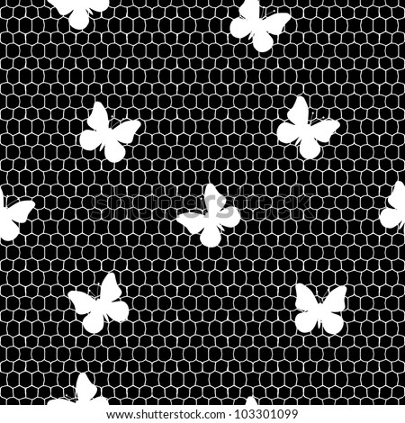 Seamless lace pattern with butterflies - stock vector