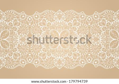 Seamless lace ribbon - stock vector