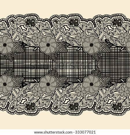 Seamless lace ribbon with black cloth in the center. For the design of wedding cards and invitations in vintage style. Vector illustration - stock vector