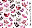 Seamless ladies high heels shoes pattern - stock vector
