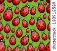 Seamless ladybug background - stock vector