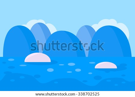 Seamless Landscape of Blue Snowy Mountain Background with Ocean and Ice Berg for Game, Vector Illustration - stock vector