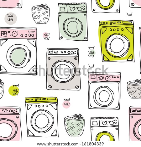 Seamless laundry day cleaning around the house vintage illustration background pattern in vector - stock vector