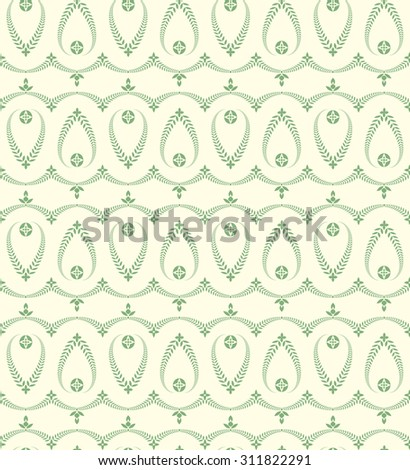 Seamless laurel wreath pattern. Vintage, curled texture. Twirl silhouettes with laurel leaves. Floral theme. Twist ornament. Green figure on light green background. Vector illustration - stock vector
