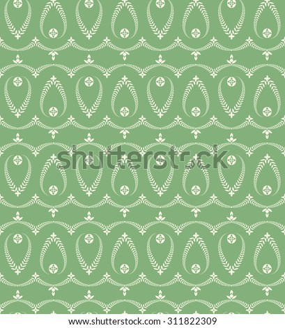 Seamless laurel wreath pattern. Vintage, curled texture. Twirl silhouettes with laurel leaves. Floral theme. Twist ornament.  White green figures on cold green background.Vector illustration - stock vector
