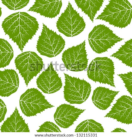 Seamless leafs green pattern, vector - stock vector