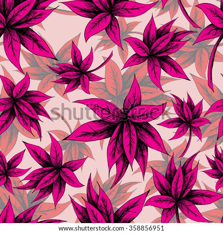 Seamless leaves pattern in vintage style with hand drawn elements. Vector illustration for your graphic design. - stock vector