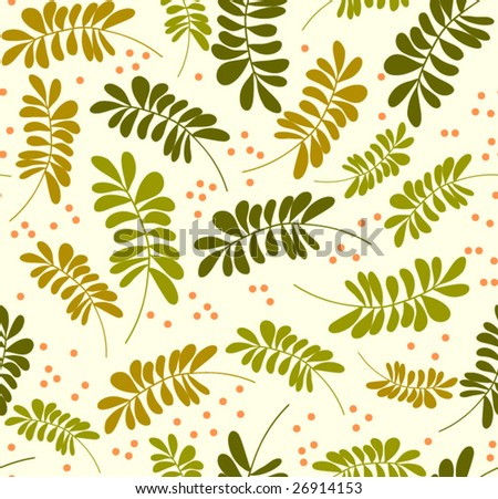 Seamless leaves wallpaper pattern, vector - stock vector