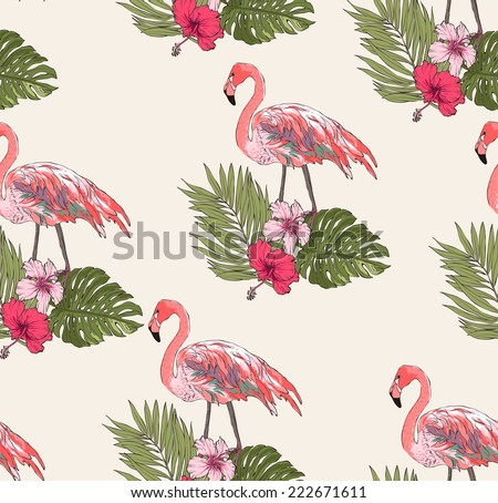 seamless leaves with flamingo vector patterns - stock vector