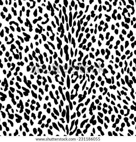 Seamless leopard pattern. Black and white leopard background. Vertical line fur. - stock vector