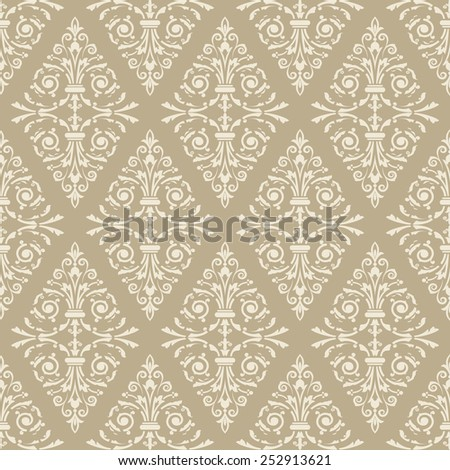 Seamless light beige floral vintage vector background. - stock vector