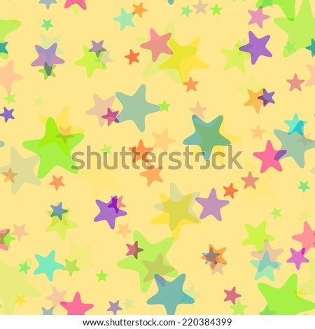 Seamless  light festive  pattern with bright colored stars with rounded corners