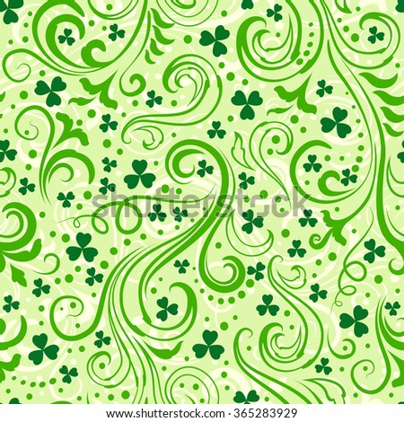 Seamless light green St. Patrick's day background with floral swirls and clover leaves. - stock vector