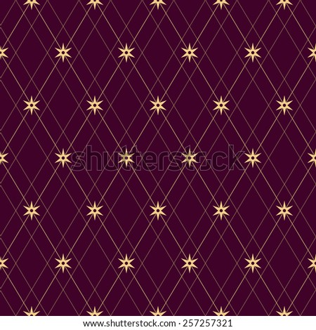Seamless Line and Star Pattern. Vector Background - stock vector