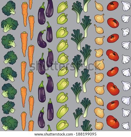 seamless line of eggplant garlic onion pepper tomato carrot - stock vector