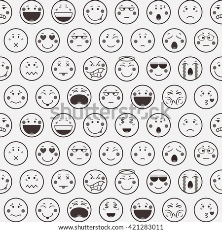 Seamless line pattern with emoticons on white background. Emoji background. Icons design in flat style. Vector illustration. - stock vector
