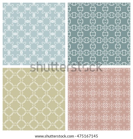 Seamless line patterns set. Contemporary graphic design. Endless texture for wallpaper, pattern fills, web page background. Colorful geometric ornaments.