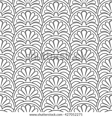 Seamless linear ornamental background. Greek key seamless pattern with palmetta motif. Monotone floral pattern of thing lines. Fish scale texture. Fabric print. Black and white vector illustration.