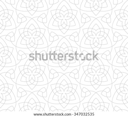 Seamless linear pattern in light tones with thin curl lines and scrolls. - stock vector