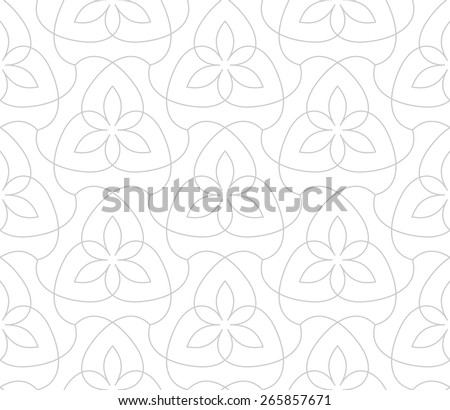 Seamless linear pattern. Stylized floral ornament. - stock vector