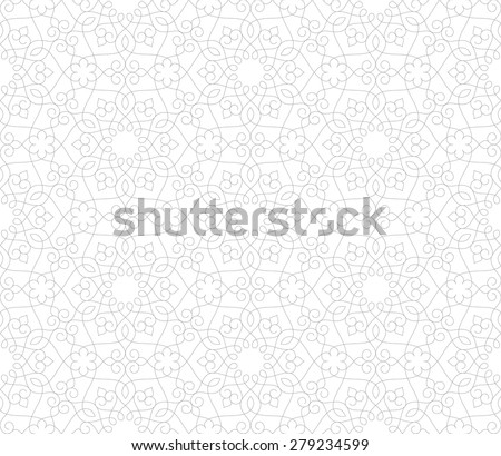 Seamless linear pattern with thin curl lines and scrolls. Abstract Vector Illustration. - stock vector