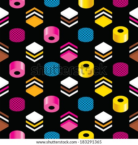 Seamless Liquorice Allsorts Background Texture - stock vector