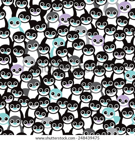 Seamless little retro black and white penguins adorable kids illustration background pattern in vector - stock vector