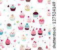 seamless love cupcake pattern - stock vector