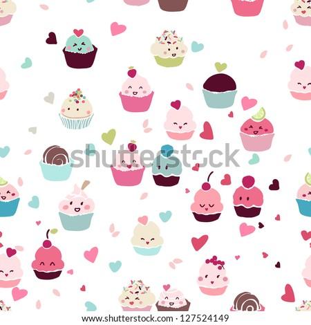 seamless love cupcake pattern - stock vector