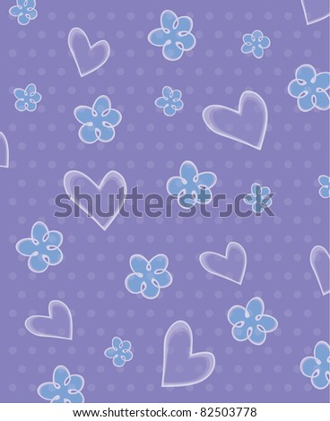 Seamless love romantic pattern with hearts and flowers and dots, vector illustration - stock vector