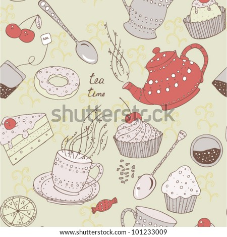 Seamless love tea pattern with sweets and cake - stock vector