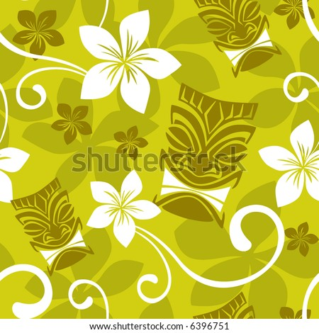 Seamless Luau Tiki Pattern - stock vector