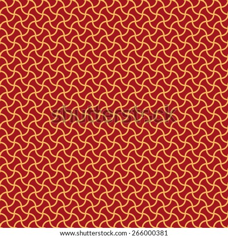 Seamless luxury red and gold arc based geometric pattern vector - stock vector