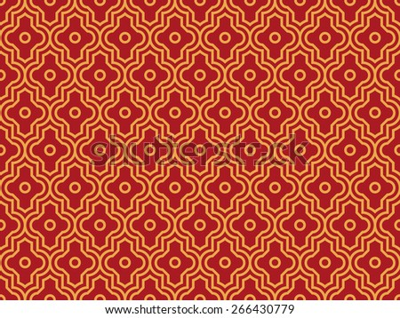Seamless luxury red and gold enhanced moroccan pattern vector - stock vector