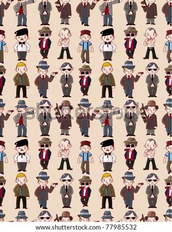 seamless mafia pattern - stock vector
