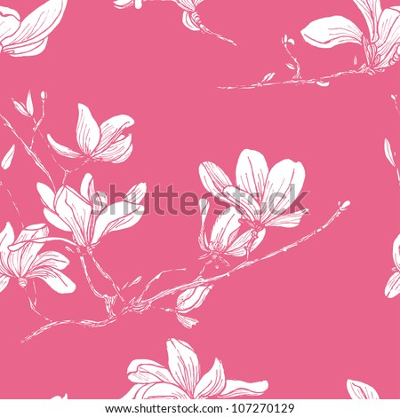 Seamless magnolia flower pattern in japan style - stock vector