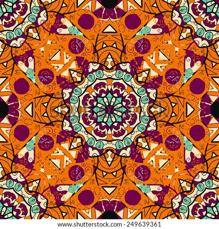 Seamless mandalatiled pattern in orange color over black background. Floral indian vector. Ornate arabic ottoman indian motif - stock vector