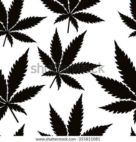Seamless marijuana black leaves on white background pattern. Vector illustration. - stock vector