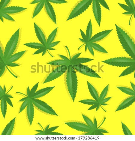 Seamless marijuana cannabis leaves pattern background vector illustration - stock vector