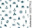 seamless marine pattern - stock vector