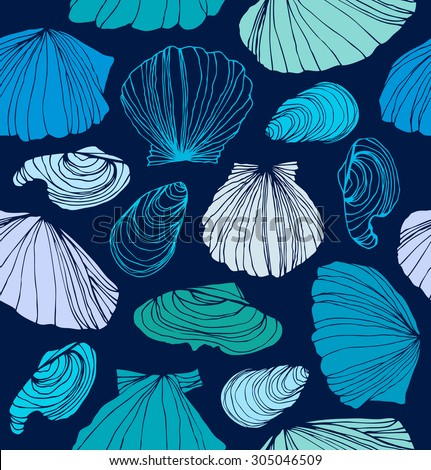 Seamless marine pattern with shells. Blue graphic background with seashells - stock vector