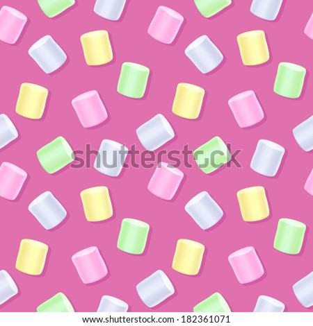 Seamless marshmallow pattern - pink back. Sweet food background.